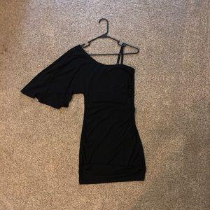 Guess black one sleeve mini dress
